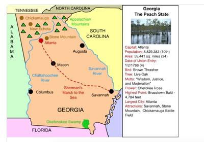 Map Of Georgia Mountain Cities.Mr Nussbaum Georgia Detailed Online Label Me Map