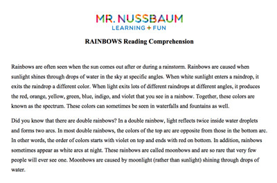 Mr  Nussbaum Lang  Arts Reading Comprehension (Printable