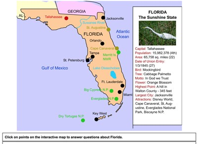 Florida Map Of State.Mr Nussbaum Usa Florida Activities