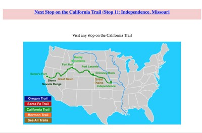 Map Of California To Oregon.Mr Nussbaum California Trail Interactive Map