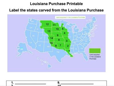 Mr. Nussbaum - Louisiana Purchase Label-me Quiz - Online