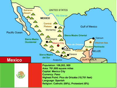 Climate Map Of Mexico For Kids
