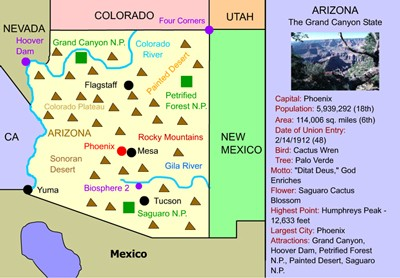 Interactive Map Of Arizona.Mr Nussbaum Usa Arizona Activities