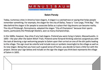 Mr. Nussbaum - Salem Witch Trials Reading Comprehension