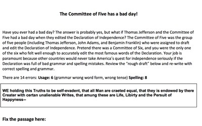 graphic about Printable Declaration of Independence titled Mr. Nussbaum - Consequences of the Impressive War