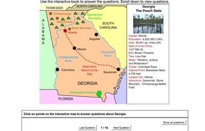 Interactive Map Of Georgia.Mr Nussbaum Usa Georgia Activities