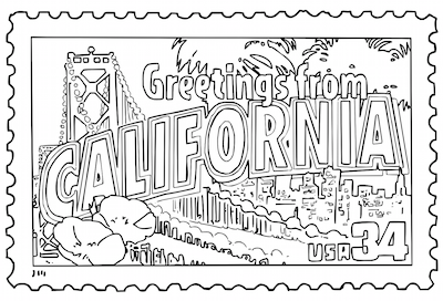 Mr Nussbaum Greetings From California United States Postage Stamp Coloring Page