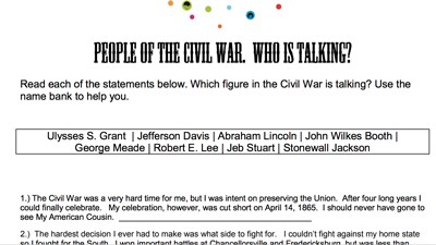 photo relating to Civil War Printable Activities identify Mr. Nussbaum Record Civil War - Actions Functions