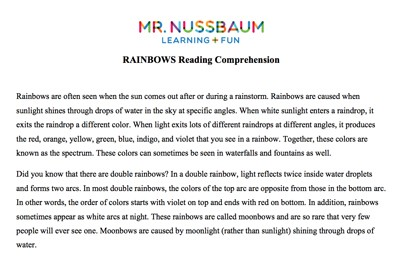 Mr. Nussbaum Lang. Arts Reading Comprehension (Printable) Activities