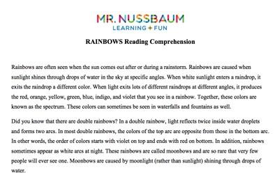 Mr. Nussbaum Lang. Arts Reading Comprehension (Online) Activities