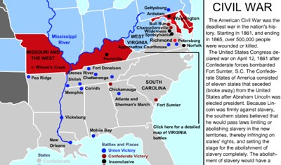 Mr Nussbaum Civil War Battles Interactive Map - Us-civil-war-map-of-battles