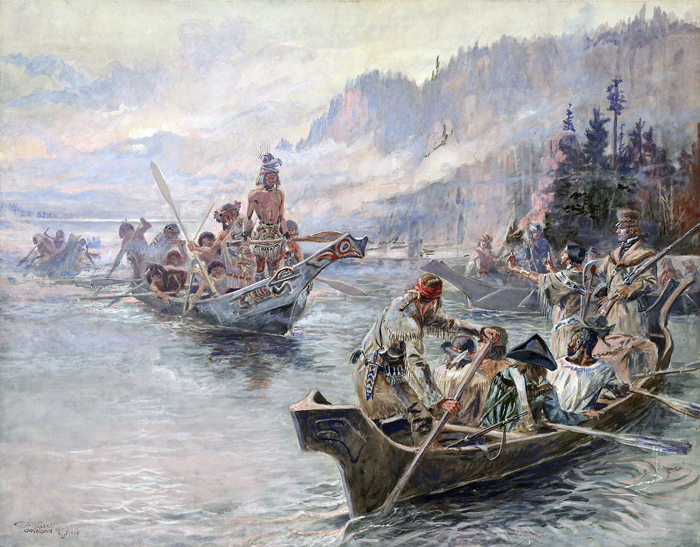 Painting by Charles Marion Russell showing The Corps of Discovery meeting the Chinook on the Columbia River