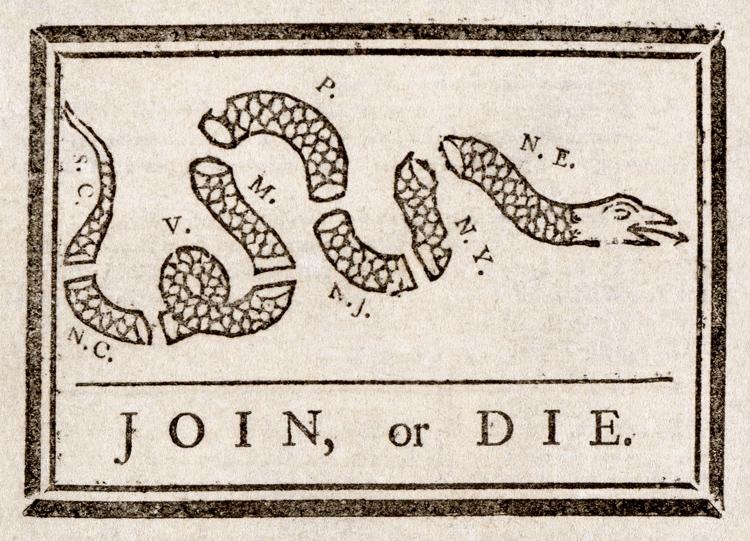 Join, or Die by Benjamin Franklin