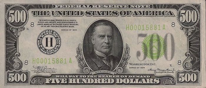 William McKinley was Honored on the united States $500 Bill
