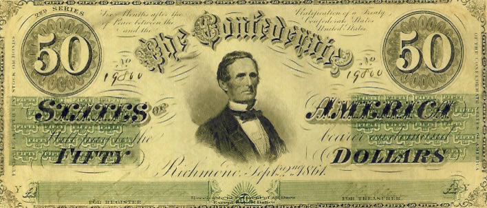 Jefferson Davis on Confederate Currency