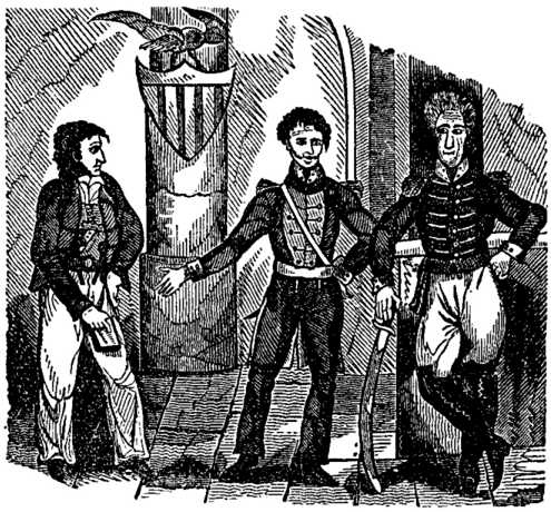 Woodcut Featuring Jean Lafitte and Andrew Jackson During the War of 1812