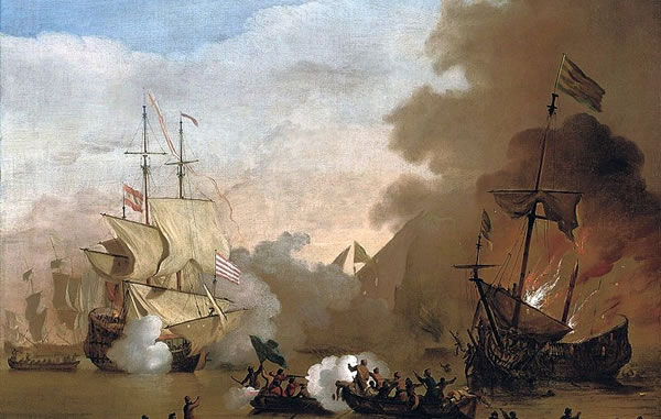 British Ship engaging with Barbary ship near Tunis