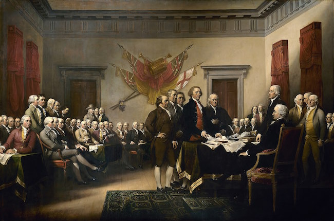 Declaration of Independence by John Trumbull. John Adams is at center with hands on hips.