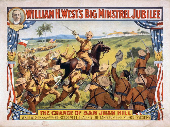 Poster Illustrating Roosevelt Leading the Rough Riders up San Juan Hill in the Spanish-American War
