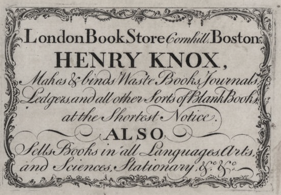 Advertisement for Henry Knox's Bookstore