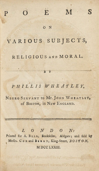 Phillis Wheatley Book of Poems